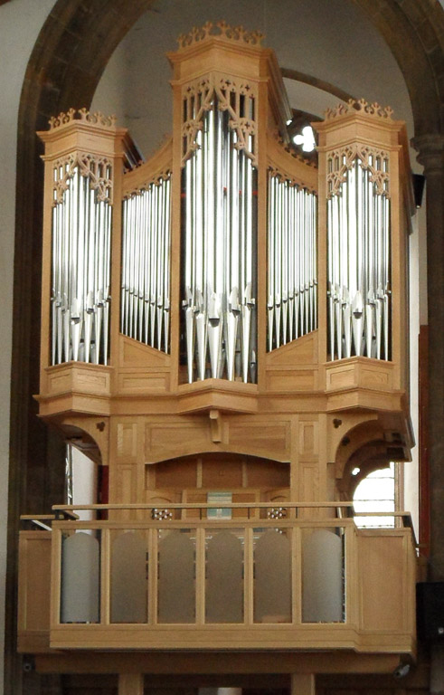 Church organ pipes in wood
