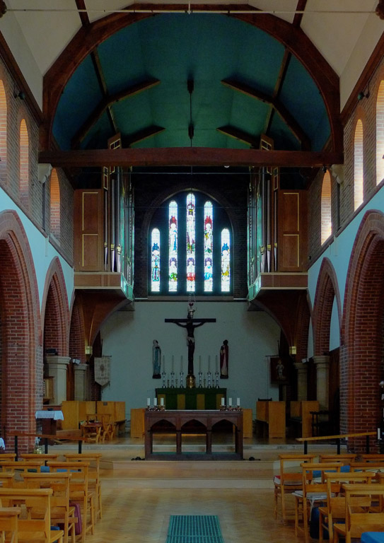 Church hall and organ